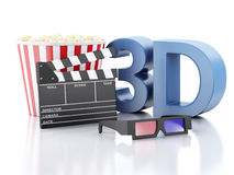 Cinema clapper, popcorn and 3d glasses. 3d illustration. Cinema clapper, popcorn and 3d glasses. cinematography concept. 3d illustration Stock Image