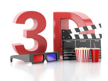 Cinema clapper, popcorn and 3d glasses. 3d illustration Stock Photo