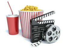 Cinema clapper, popcorn and drink. 3d Stock Images