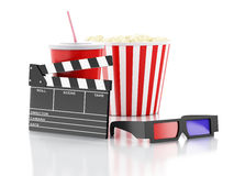 Cinema clapper, popcorn, drink and 3d glasses. 3d illustration. Image of cinema clapper board, popcorn, drink and 3d glasses. cinematography concept. 3d image Stock Image