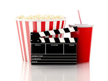 Cinema clapper, popcorn and drink. 3d image Royalty Free Stock Photos