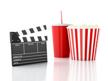 Cinema clapper, popcorn and drink. 3d image. Image of cinema clapper board, popcorn and drink. cinematography concept. 3d image Stock Image