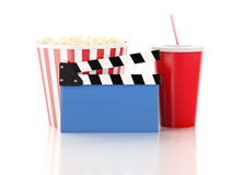 Cinema clapper, popcorn and drink. 3d image. Image of cinema clapper board, popcorn and drink. cinematography concept. 3d image Royalty Free Stock Photography