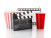 Cinema clapper, popcorn and drink. 3d image Royalty Free Stock Photography