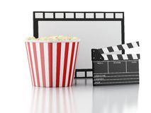 Cinema clapper, popcorn and drink. 3d image. Image of cinema clapper board, popcorn and drink. cinematography concept. 3d image Stock Photography