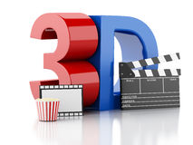 Cinema clapper, popcorn, drink and film reel. 3d illustration Royalty Free Stock Photography