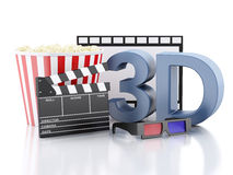 Cinema clapper, popcorn, film reel and 3d glasses. 3d illustrati. Cinema clapper, popcorn, film reel and 3d glasses. cinematography concept. 3d illustration Royalty Free Stock Photography