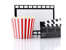 Cinema clapper, popcorn and film reel. 3d illustration. Image of cinema clapper board, popcorn and film reel. cinematography concept. 3d illustration Royalty Free Stock Images