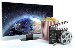 Cinema clapper, popcorn and TV. 3d image Stock Image