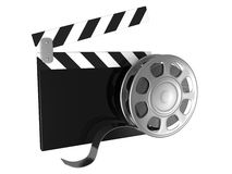 Cinema clapper and video film tape Stock Photos