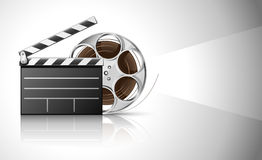 Cinema clapper and video film tape on disc. Illustration Stock Images