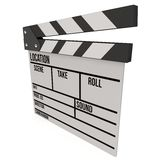 Cinema clapperboard 3D. Cinema clapperboard. 3D render isolated on white. Filmmaking and video production device Royalty Free Stock Photos