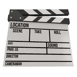 Cinema clapperboard 3D. Cinema clapperboard. 3D render isolated on white. Filmmaking and video production device Royalty Free Stock Photo
