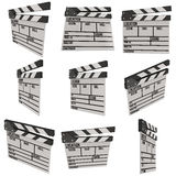 Cinema clapperboard 3D. Cinema clapperboard. 3D render isolated on white. Filmmaking and video production device set Stock Images
