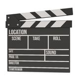 Cinema clapperboard 3D. Cinema clapperboard. 3D render  on white. Filmmaking and video production device Stock Images
