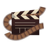 Cinema clapperboard and film movie vector flat icon. Cinema clapperboard and film logo for cinema design element. Vector isolated clapper flat icon Stock Images