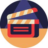 Cinema Clapperboard. Icon in Flat Style Royalty Free Stock Image