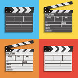 Cinema clapperboard vector icons. Set of 4 cinema clapperboard vector icons.  Filmmaking and video production device Royalty Free Stock Photography
