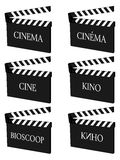 Cinema Clapperboards Different Languages Stock Images