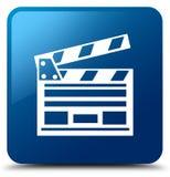 Cinema clip icon blue square button. Cinema clip icon isolated on blue square button abstract illustration Royalty Free Stock Photos