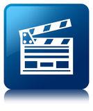 Cinema clip icon blue square button. Cinema clip icon isolated on blue square button reflected abstract illustration Stock Photos