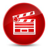 Cinema clip icon elegant red round button. Cinema clip icon isolated on elegant red round button abstract illustration Royalty Free Stock Images