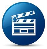 Cinema clip icon blue round button. Cinema clip icon isolated on blue round button abstract illustration Stock Photos
