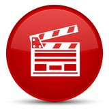 Cinema clip icon special red round button. Cinema clip icon isolated on special red round button abstract illustration Royalty Free Stock Images