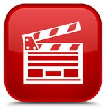 Cinema clip icon special red square button. Cinema clip icon isolated on special red square button abstract illustration Royalty Free Stock Photography