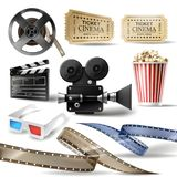 Cinema clipart of 3D realistic objects. Cinema set of 3D realistic objects bucket with popcorn, reel, tape, glasses, camcorder, movie tickets and clapperboard Royalty Free Stock Photo