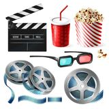 Cinema clipart of 3d vector realistic objects. Vector realistic set of cinema equipment, cardboard bucket with popcorn, plastic cup for drinks, reel with tape Royalty Free Stock Photography
