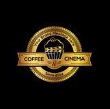 Cinema and coffee vector logo design template. Cinema and coffee cup vector logo design template. Cinema cafe brand identity illustration royalty free illustration
