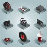 Cinema color gradient isometric icons set. Vector illustration, EPS 10 Royalty Free Stock Image