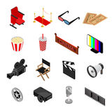 Cinema Color Icons Set Isometric View. Vector. Cinema Color Icons Set Isometric View Movie Leisure Element for Web Design. Vector illustration Royalty Free Stock Images