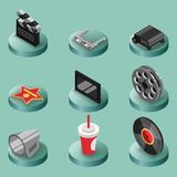 Cinema color isometric icons Royalty Free Stock Image
