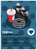 Cinema color isometric poster. Vector illustration, EPS 10 Stock Images