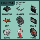 Cinema color outline isometric icons Royalty Free Stock Images
