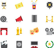 CINEMA colored flat icons Stock Image