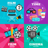 Cinema Colored Icon Set Stock Photos