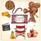 Cinema colored sketch set. Cinema entertainment media hand drawn elements of film reel director chair camera isolated vector illustration Royalty Free Stock Images