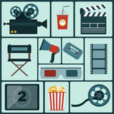 Cinema colorful icon set Stock Image