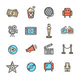 Cinema Colorful Outline Icon Set. Vector. Illustration Royalty Free Stock Image
