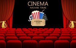 Cinema com fileira de assentos vermelhos ilustração royalty free