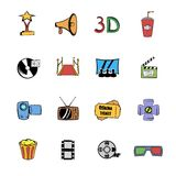 Cinema comics icons set cartoon. Cinema comics icons set in cartoon style isolated on white background vector illustration Stock Images