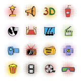 Cinema comics icons set. Isolated on white background Stock Photography