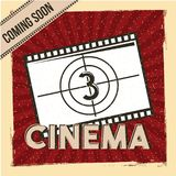 Cinema coming soon poster film strip countdown red stripes background. Vector illustration Stock Photos