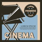 Cinema coming soon premiere classic retro poster. Vector illustration Stock Photos