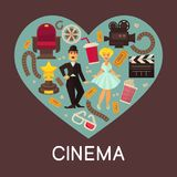 Cinema commercial banner with cinematographic symbols inside heart. Charlie Chaplin and Marilyn Monroe surrounded with old camera, wooden clapperboard, 3D Royalty Free Stock Photos