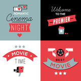 Cinema compositions with text. Set of four decorative compositions with cinema symbols and text. Cinema theatre illustration for web, flyers, print design royalty free illustration