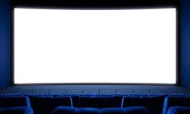 Cinema con i posti vuoti ed il grande schermo bianco 3d rendono Immagini Stock Libere da Diritti